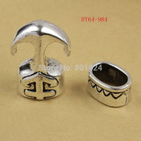 Cheap free shipping 10pcs 64-984 10set lot antique silver End cap Jewelry Anchor Clasp bracelet clasps leather cord connectors