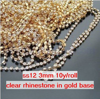 Wholesale ss12 mm Single row Metal A grade clear Crystal Rhinestone Diamante Cup Chain one roll yards