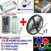 Cheap 25M Waterproof 5050 SMD RGB 60LEDs M LED Strip light 5 x 5M+44key IR remote Controller+12v 20A power supply+RGB Amplifier+CABLE