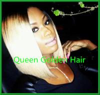 Wig,Half Wig Human Hair,100%unprocessed brazilian vir Other Ombre color wig #1bT#613 Brazilian virgin human hair lace front wig silk top lace front wig human hair bob style for black women