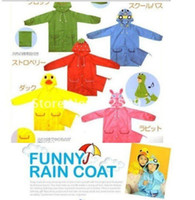 wholesale rain ponchos - children poncho kids animal model raincoat polyester cute rain coat with bag mix colors