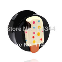 Cheap Wholesale-ice cream screw ear plug fashion body piercing jewelry ,free shipping,64pcs lot,mixed 8 sizes