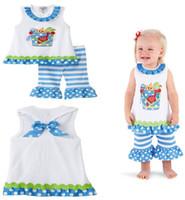 Wholesale baby girl shortsleeve t shirt flare short pants summer clothing set mixed any orders use fedex FREE to RO AU EU US CA