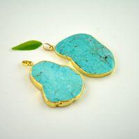 drusy jewelry - Trendy X Gold plated Edge Sky Blue Druzy drusy quartz Agate Pendant Jewelry Finding