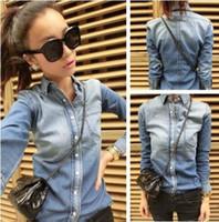 Wholesale Hot Sales Women s Jean Blouses Gradient Blue Long sleeve Denim Shirts for Woman Ladies Autumn Spring J2015