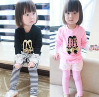 striped pants clothing - Baby Girls Tracksuit Autumn Lace Beading Shoes Printed Tops Striped False Long Pants Set Kids Clothing Set Pink Black M1265