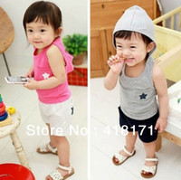 Cheap Wholesale-Wholesale summer boy girl clothing set baby kids star Hoodies+shorts sets child leisure sport suits sets 5sets lot free shipping