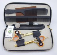 Wholesale Professional Hair dressing scissors CR13 HRC Golden scissors straight Thinning cutting inches S145