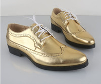 Wholesale Business Casual men s Shoes gold or silver wedding shoes bridegroom Shoes business dress shoes