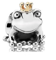 Wholesale Sterling Silver Pandora Beads Frog prince European charms Compatible with Snake chain Bracelets Jewelry