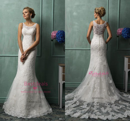 Wholesale 2015 Amelia Sposa Lace Wedding Dresses With Scoop Sheer Back Covered Button Court Train Church Mermaid Bridal Gowns AS1280