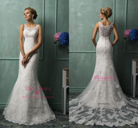 2015 Amelia Sposa Lace Wedding Dresses With Scoop Sheer Back...