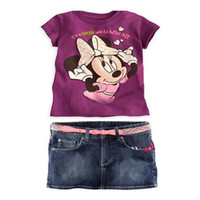 Cheap Wholesale-Free Shipping(6sets lot)Brand New Girls Clothing Sets Fashion Kids Outfits Children's Minnie Mouse t shirts+Jeans Skirt 2pcs Set