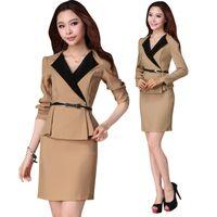 Cheap High Quality women's Mini skit and tops long Sleeve formal business Khaki Black Skirt Suit uniform J1170