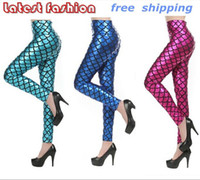 Polyester Mid Casual 5 Color! 2014 New Fashion Sexy Women's Spandex Stretch Fish Scales Mermaid Printed Leggings Elastic Skinny Trousers Pants
