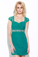 Cheap Vintage Green Lace 2014 Mini Homecoming Dresses Square Neck Corset Short Capped Sleeves Crystal Open Back Formal Cocktail Prom Gowns Cheap