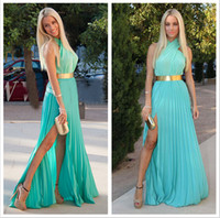 Cheap In Stock 2014 Evening Dress Criss Cross Halter Neck Slit Side Sheath Gold Belt Floor Length Cheap Prom Party Gowns Only For Aqua Size M