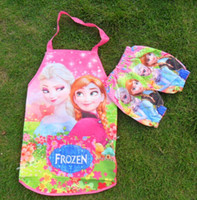 Wholesale Frozen Sleeveless Apron with set Oversleeves Anna Elsa Children Kids Cartoon Xmas Art Painting Cooking waterproof Smock DHL free ship