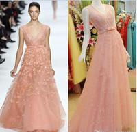 2015 Elie Saab Illusion V neck Evening Dresses Coral Mint Re...