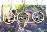 Wholesale Catching Fire Necklace Authentic Prop imitation Jewelry Katniss Movie The Hunger Games MOCKINGJAY PIN with retail package