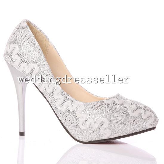 Оптом - К 2015 году Новый блестящий блеск серебра кружева свадебные босоножки на высоком каблуке свадебные туфли Свадебные туфли невесты туфли