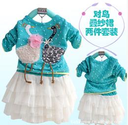2014 New Spring & Autumn Cute Swan Diagram Long Sleeve Girls Dress Tutu Lace Baby Flora Set For Child Autumn