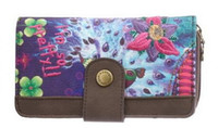 Cheap Wholesale - new Purple desigual Clutch ladies purse multi Card Wallet Handbag PU twill printing embroidery Free postage