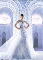 sleeve photo - 2015 Luxury Wedding Dresses Crew Mermaid Tulle Organza Elegant Bridal Gown High Quality Half Sleeves Sheer Beading Crystal Michael Cinco