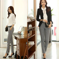 Cheap 2014 new fashion women pants Ol slim casual pants plus size suit pants western-style trousers Black #4 SV005891