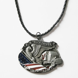 Wholesale Men Leather Necklace American Hero Truck Driver Charm Necklace NECKLACE D041
