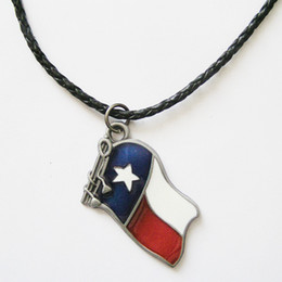 Men Leather Necklace Texas Nation Flag Real Leather Charm Necklace NECKLACE-WT046