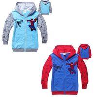 hooded sweat jackets - Autumn Boys Fleece Sweat Spider Man Cartoon Hoodied Sweaters Kids Children s Cardigan Outwear Jacket Gray Red For Years J1493