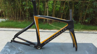 carbon frame bike - Black Yellow F Carbon Fiber Road Bike Frame T1000 K full carbon fiber bike frame and Fork Seatpost Clamp Headset