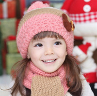 Unisex earflap crochet hats for girls - Retail New Arrival Lovely Baby Hats Scarf Girls Muffler and Earflap Caps Kids Pocket Hats Child Shawl For Years Old Baby MA641