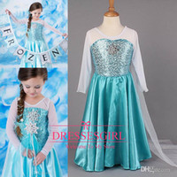 Wholesale 2014 Frozen Princess Anna Elsa Blue Dresses With White Lace Wape real image Cheap In Stock Flower Girls Pageant Dresses Size