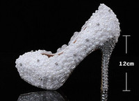 Wholesale On Sale New White Lace Flower Wedding Shoes Elegant beaded Bridal Shoes Large Size flowers High Heels Pumps Woman party shoes