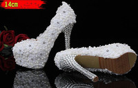 large size high heel shoes - On Sale New White Lace Flower Wedding Shoes Elegant beaded Bridal Shoes Large Size flowers High Heels Pumps Woman party shoes