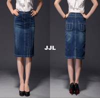 Cheap autumn skirt2014 Women Brand Skirt High Quality New Arrival Plus Size 4XL Women's Blue Denim Skirts with Pockets Knee Length Skirt PWG05065
