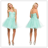 Cheap Sexy Mint Lace Up Corset Strapless Tulle Short Homecoming Prom Dresses 2014 2015 Ruched Cocktail Gowns