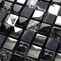 Wholesale Stone Glass Blend Kitchen Backsplash Tile Marble Stainless Steel Crack Effect Crystal Square Mosaic Glass Mosaic Bath Wall Tiles