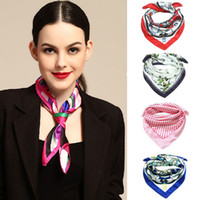 Wholesale Fashion New Cachecol Feminino Ladies Artificial Silk Scarf Multi floral Printed Square Scarves PWF014