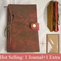 Wholesale Snap Closure Vintage Refillable DIY Genuine Leather Journal Plus Notebook Travel Notebook Sketch Book Birthday Gift
