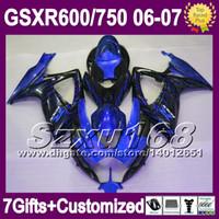 Precio de Suzuki gsxr750 fairing-7gifts+Chimenea GSX-R750 Para la NUEVA SUZUKI GSXR600 06 07 GSX-R600 K6 SZ10514 GSXR 600 750 GSXR750 llamas Azules negro 2006 2007 Cuerpo Carenado Kit