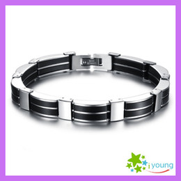 New 2014 Fashion Gifts Genuine Silicone Link Bracelet Male Stainless Steel Bracelets Upper Arm Cuff Chains Bangle