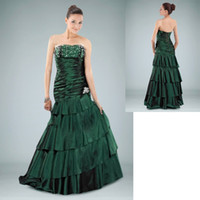 Cheap Trumpet Mermaid Prom Dresses Crystal Peacock Green Taffeta Strapless Sweetheart Sleeveless Attractive Formal Gowns Pageant Dress 263827