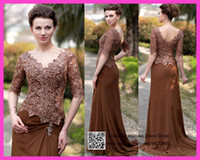 Reference Images Sweetheart Taffeta Elegant Brown Plus Size Mother Of The Bride Lace Dresses Half Sleeve 2015 V Neck Back Chiffon Vestidos For Women M2138