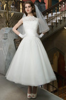 Wholesale 2014 New Vintage Wedding Dresses Jewel Neckline Sleeveless White Ivory Custom Made Organza A Line Lace Ankle Length Wedding Dresses
