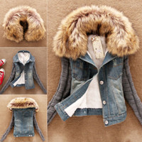 coats and jackets - Details about Autumn and winter Ladies Lamb Fur Collar Slim Short Jean Jacket Women Warm Coat