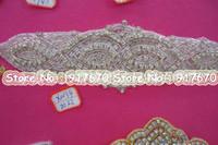 Wholesale Luxury Newest glass Bling Bridal iron on or sewing on rhinestone applique Bridal Sash Decoration Beaded Wedding Crystal Belt