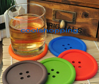 Wholesale DHL round silicone coasters cute button coasters Cup mat